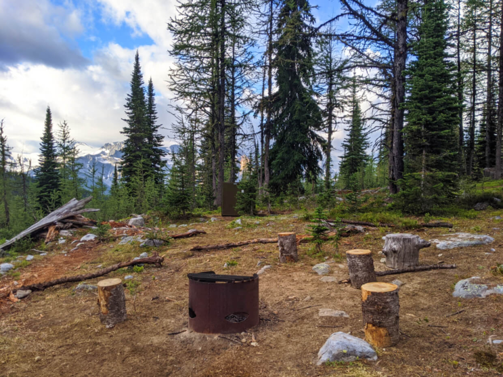 Metal fire pit surrounded by logs (used as seats) with bear cache in background, surrounded by forest with partial views of mountains in the background