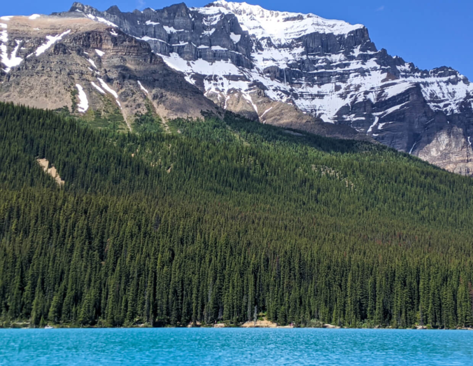 Turquoise water of Emerald Lake below forest slopes sand snow capped mountains