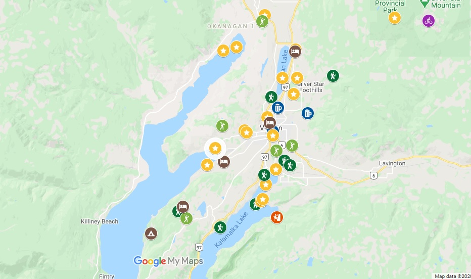 Google map with things to do in Vernon marked on graphi