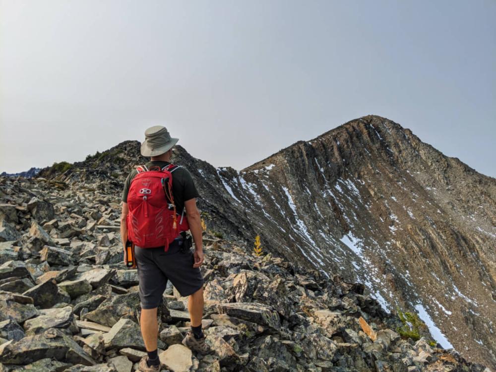 JR on Frosty Mountain ridge looking towards summit