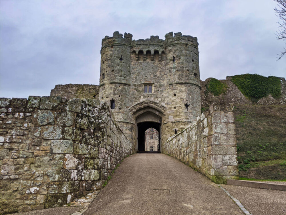 Stone entrance gate of Carisbrooke Castle on the Isle of Wight