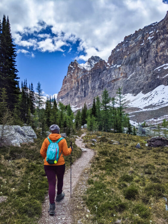 Back view of Gemma hiking on trail wearing orange jacket, purple leggings and a green backpack. The trail leads into a sparse forest, with wall of snow covered mountains looming above to the right