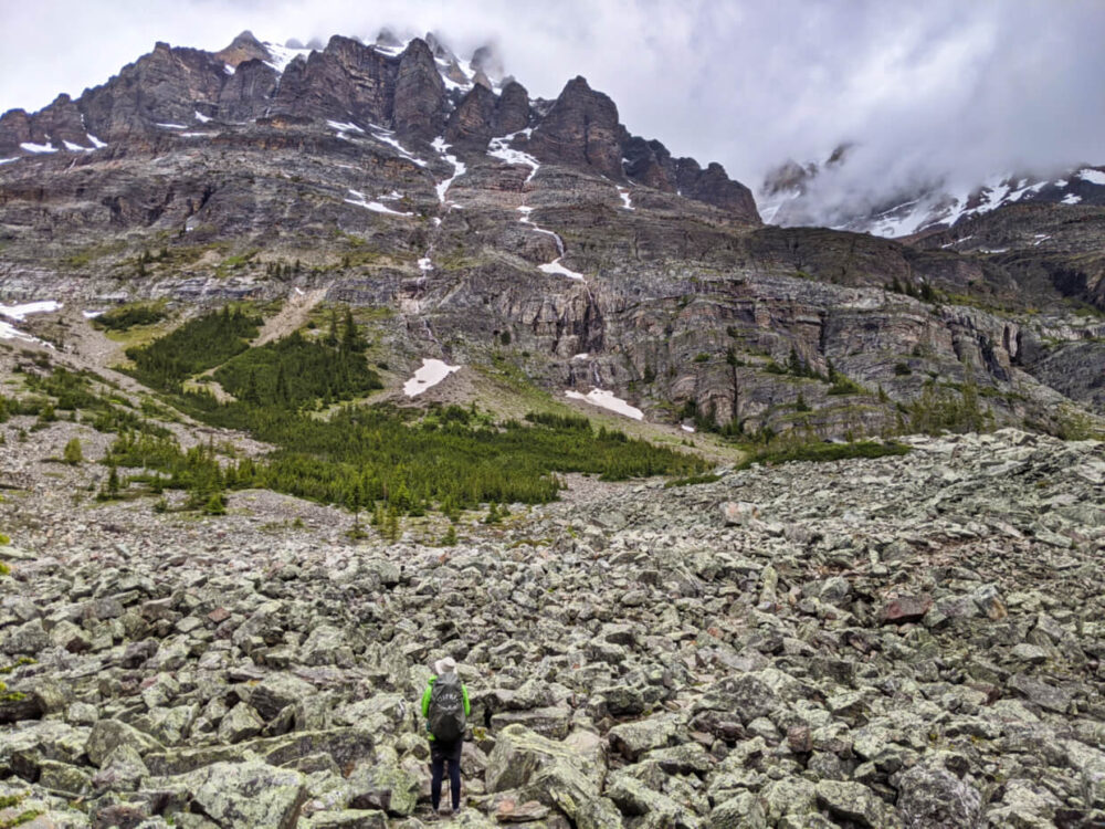 JR standing in font of boulderfield, backdropped by misty mountains