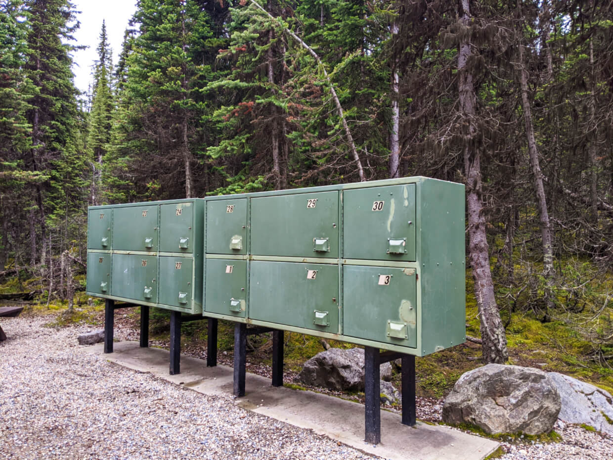 One set of green elevated metal food lockers at the Lake O'Hara campground