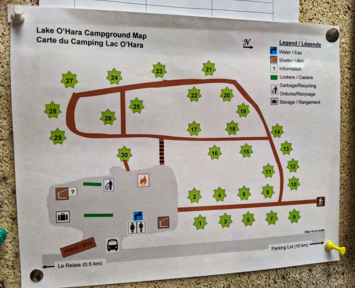 Pinned campground map with campsite numbers and layout with washrooms, bus stop, shelters and pathways