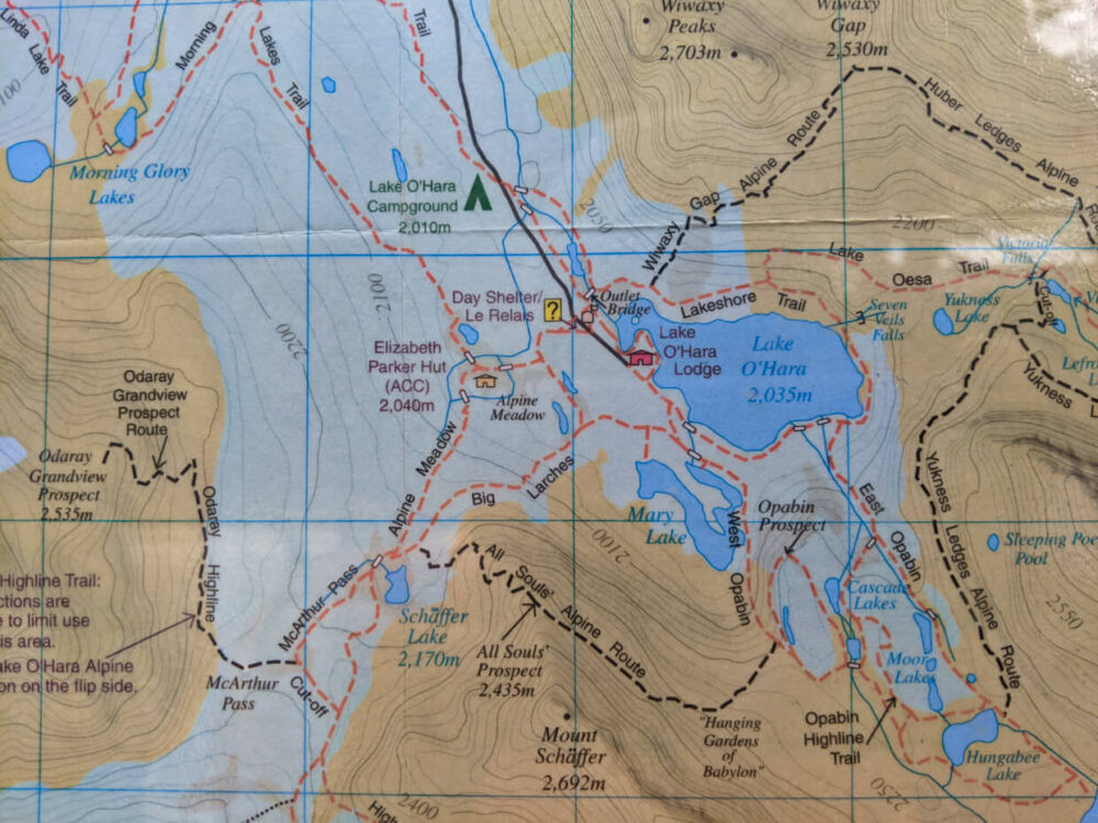 Map of Lake O'Hara with trails marked and elevation