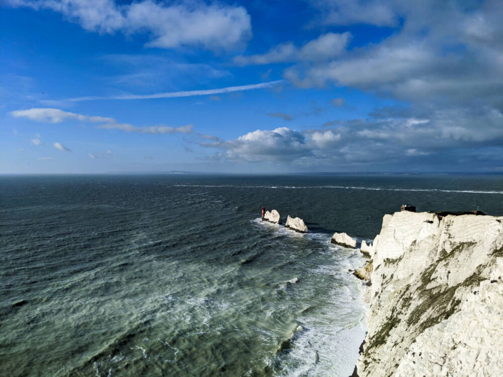 Looking down on the Needles, three chalk stacks out into the English Channel