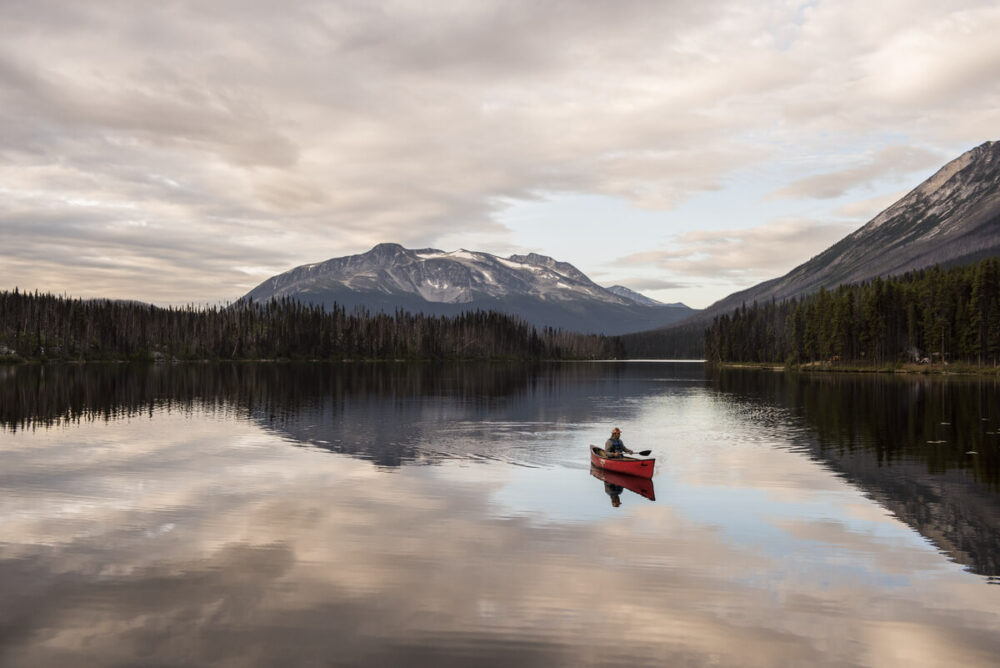 Paddler in red canoe on calm lake. lined by forest with snow topped mountains in background