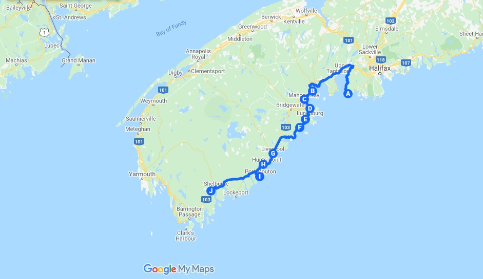 South Shore road trip Google Map nova scotia