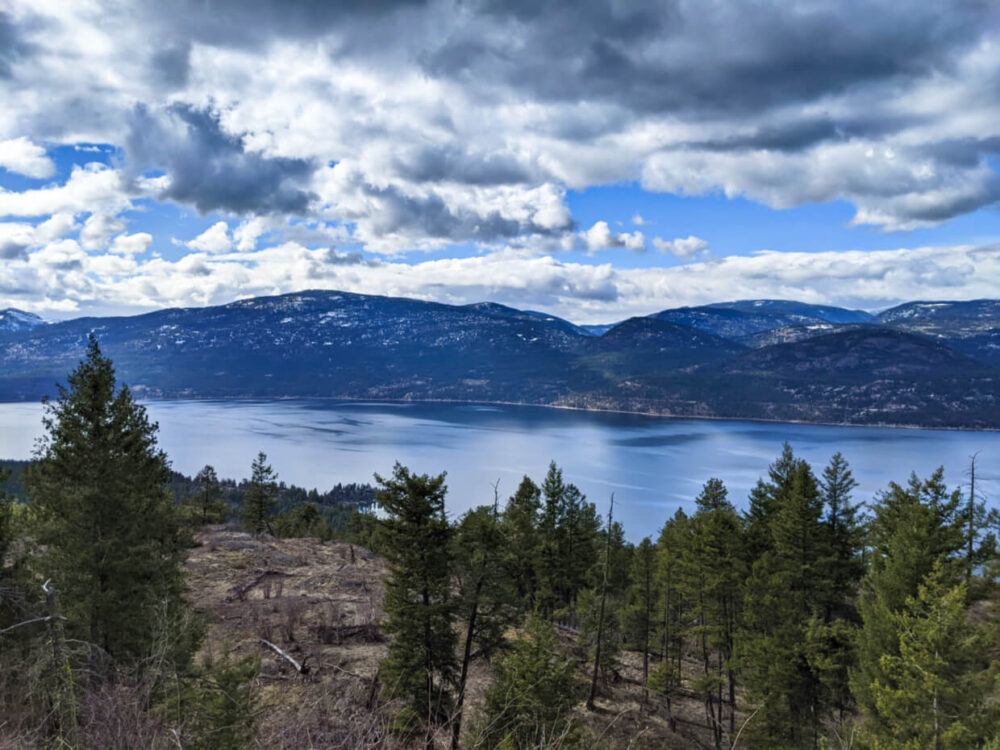 Looking down beyond trees towards Okanagan Lake, which is surrounded by mountains and hills, some with snow on the top
