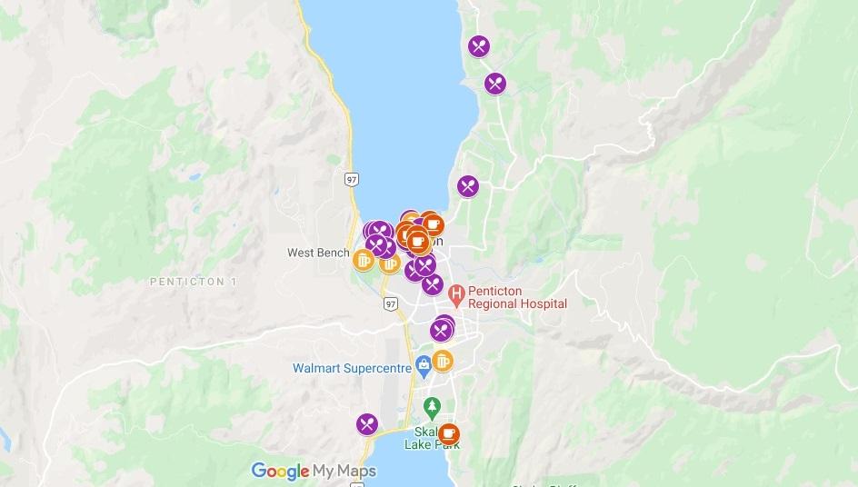 Google Map with Penticton patio restaurants