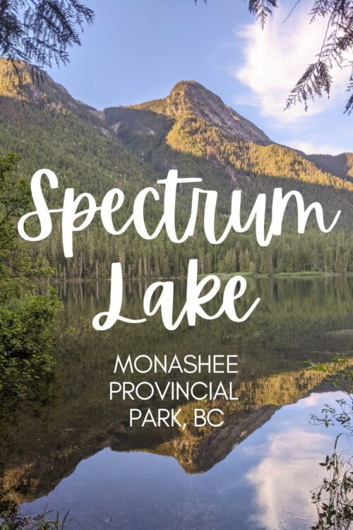 Part of Monashee Provincial Park, Spectrum Lake is an ideal first time or family backpacking destination. The trail is short (just 6km one way), the difficulty low and the reward satisfying. This post shares everything you need to know about hiking to Spectrum Lake, as a day hike or backpacking trip!