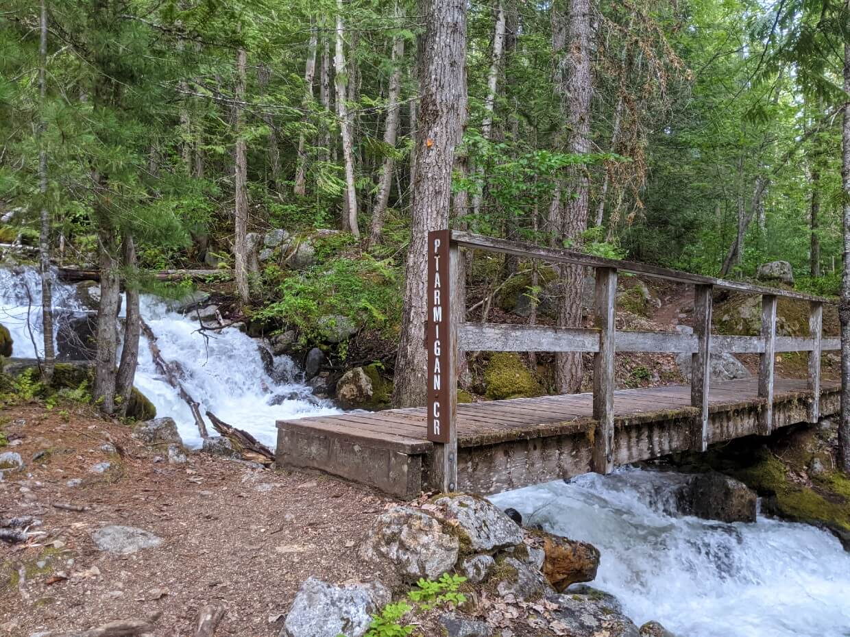 Wooden bridge crossing river, with Ptarmigan Creek name on side. Water is visibly rushing underneath the bridge