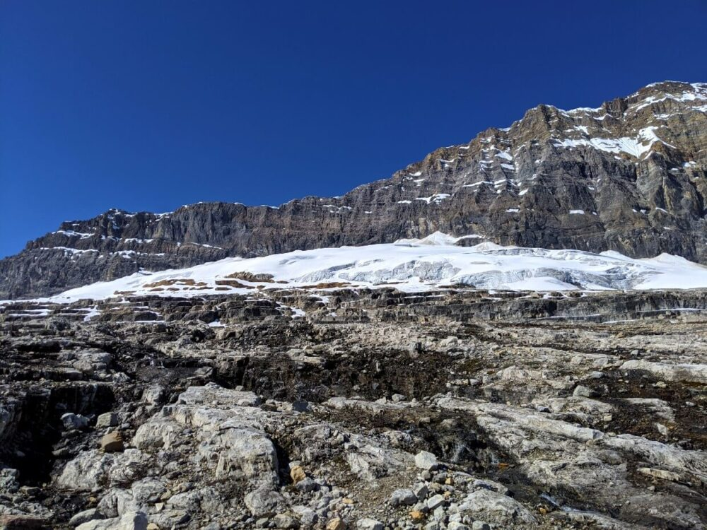Looking up to glacier on the Iceline Trail, with rocky moraine area in foreground