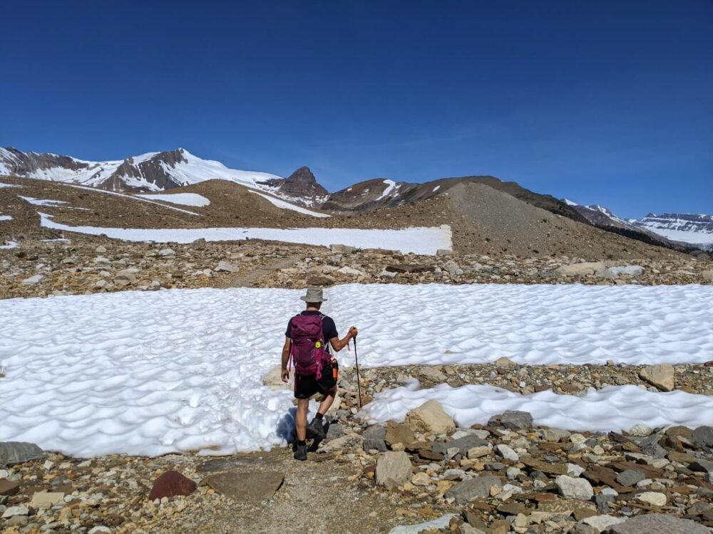 JR prepared to walk through snow patch on the Iceline Trail, Yoho National Park.