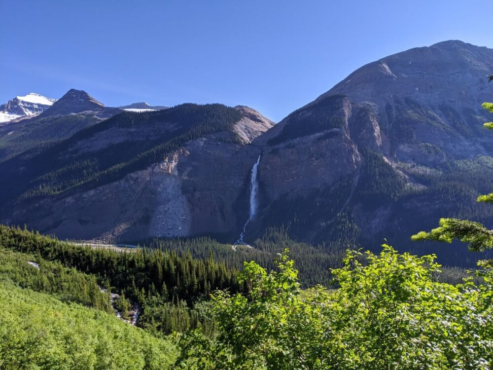 Looking across the valley towards Takakkaw Falls, which is cascading from rocky mountain