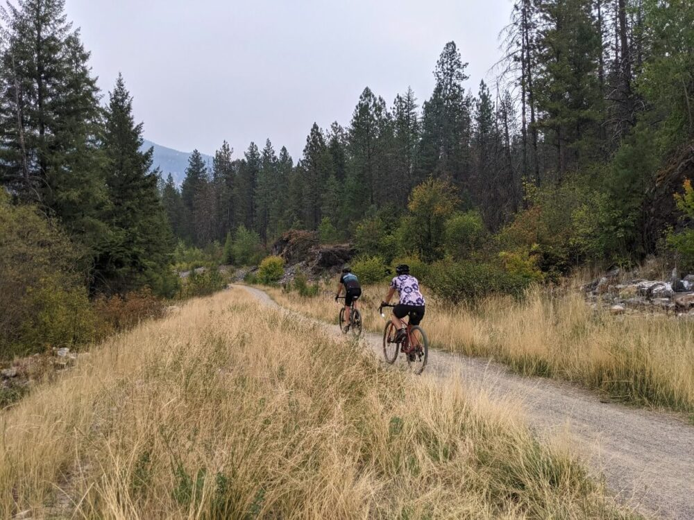 Back view of cyclists biking the Columbia & Western Railway in Boundary Country. The packed path is lined by yellow grasses