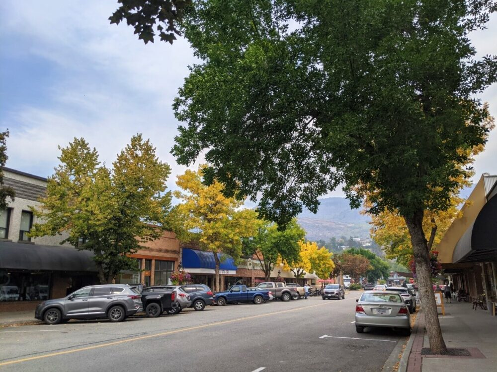 Looking down Grand Fork's main downtown street - there are cars parked on the street and trees lining the sidewalk, some of which are yellow