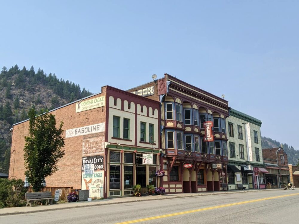 Looking across the street to heritage buildings in Greenwood, Boundary Country