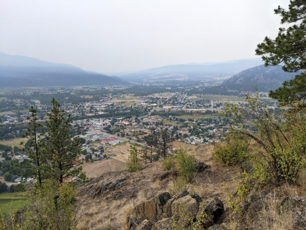 Scenic view from Observation mountain, across Grand Forks and surrounding hills. There is smoke in the air
