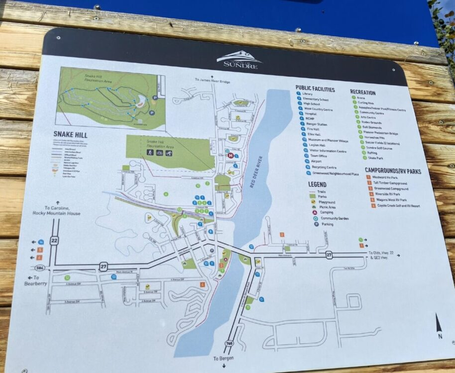 Close up of Sundre downtown map, which shows the Red Deer River running through the center of town