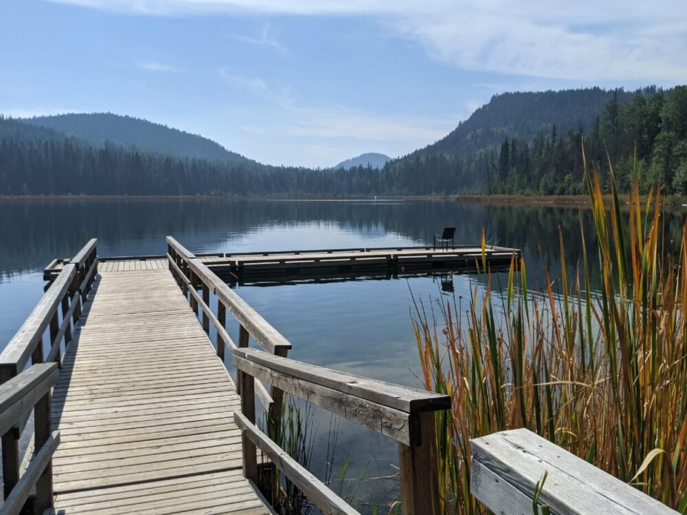 Looking out across a floating dock on a calm lake in Boundary Country