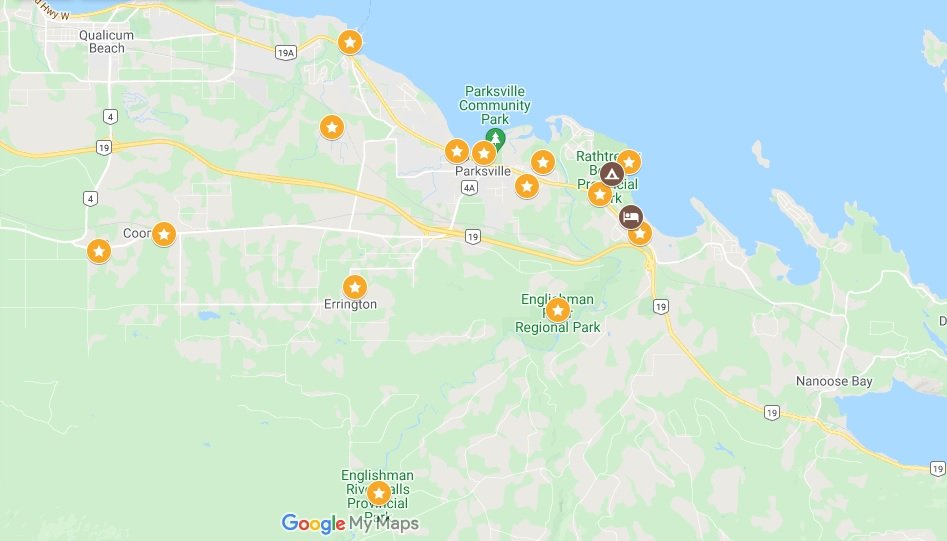 Screenshot of Google Map, featuring Parksville and things to do marked
