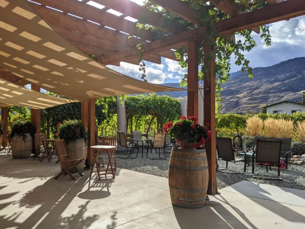 Tasting bar view of Bartier Bros. patio, with seating under shade and vineyards beyond