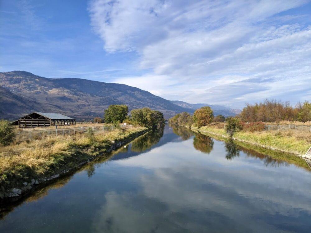 Mirror reflections on Okanagan River Channel in Osoyoos