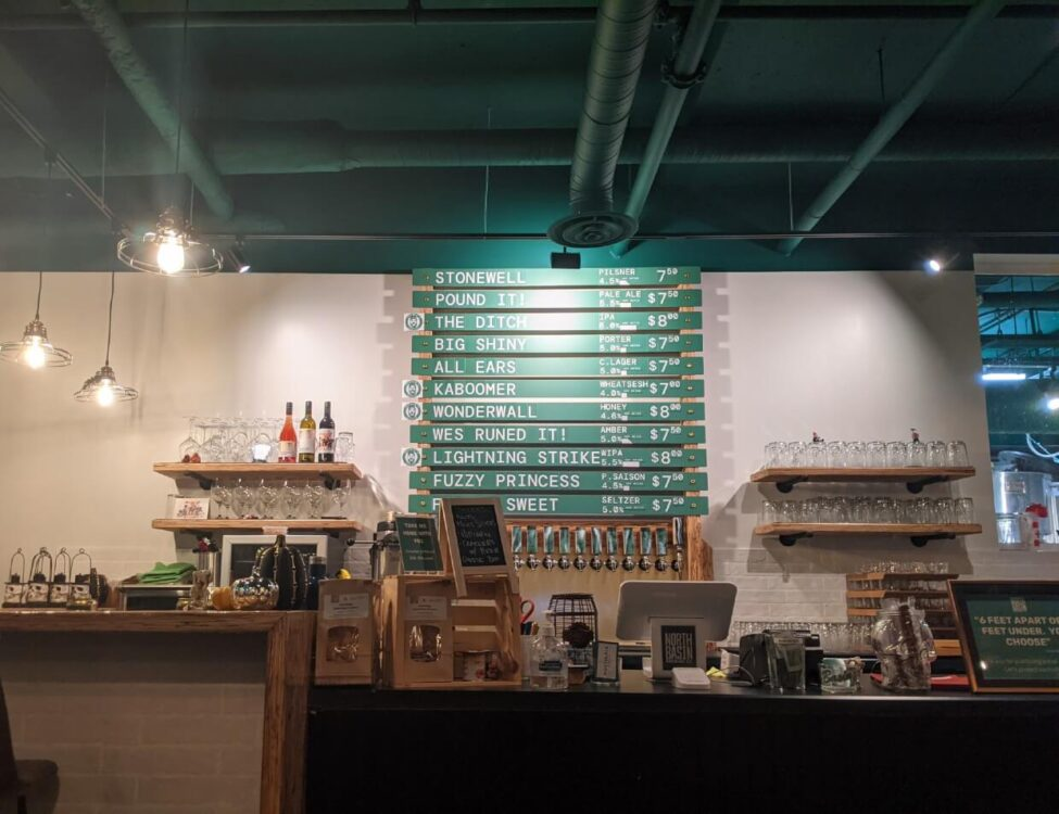 View towards counter at North Basin Brewing Co with list of beers behind
