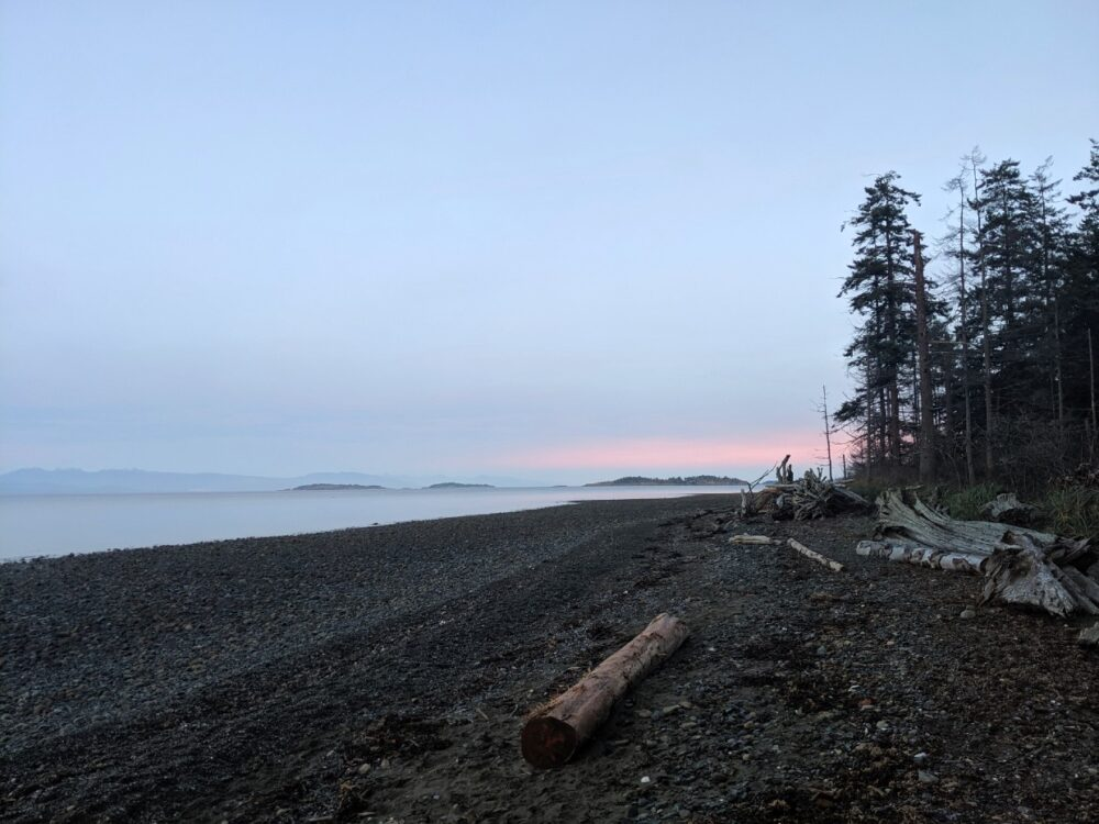 Side view of rocky beach on sunset with driftwood logs and islands and mountain layers in background